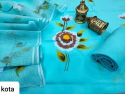 Cyan cotton suit with kota doria dupatta set