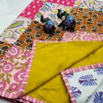 Deep Lemon and pink floral print pure cotton Hand stitched AC Quilt Dohar Patch work