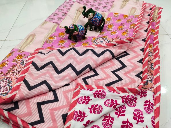 Apricot pure cotton Hand stitched AC Quilt Dohar Patch work