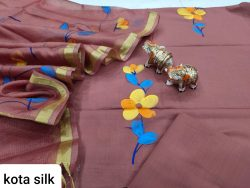 Light Blush pure Cotton suit kota Silk dupatta
