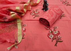 Salmon pure Cotton suit kota Silk dupatta