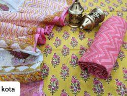 Yellow and pink cotton suit kota doria dupatta set