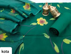 Pine Green cotton salwar suit with kota doria dupatta