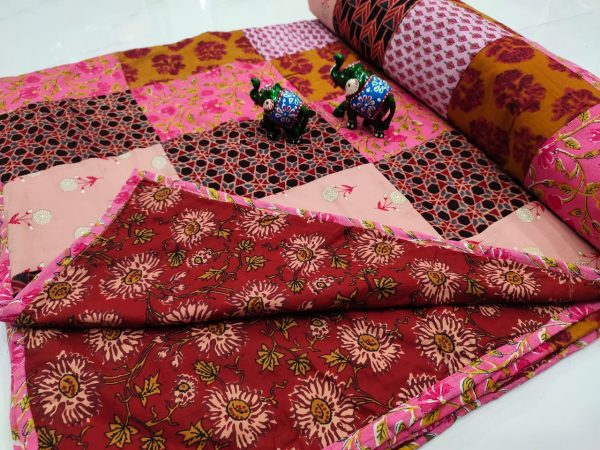 Carmine and pink pure cotton Hand stitched AC Quilt Dohar Patch work