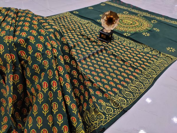 Natural green pure cotton saree with blouse