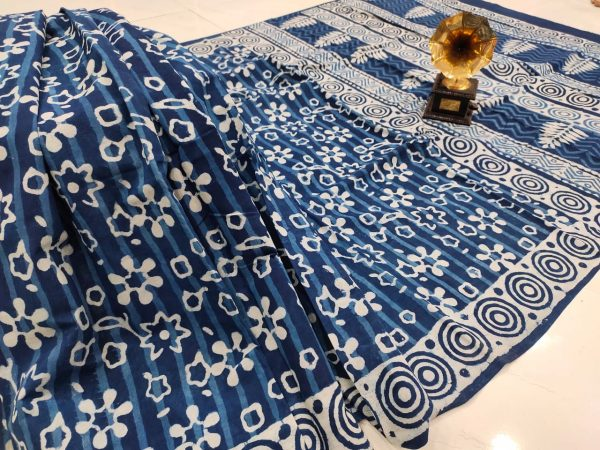 Traditional Blue pure cotton saree with blouse