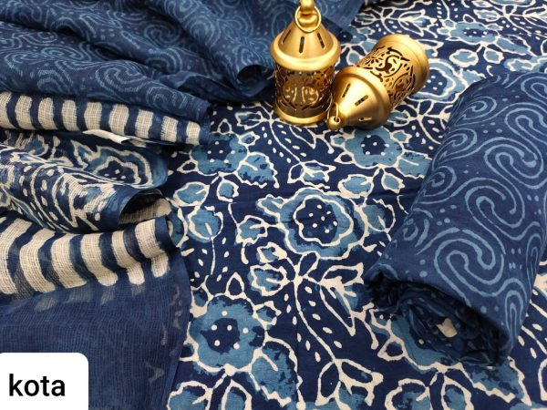 Navy blue salwar kameez suit with kota doria dupatta