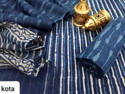 Navy blue salwar kameez suit with kota doria dupatta