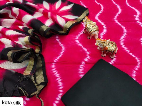 magenta and black cotton salwar kameez suit with kota silk dupatta