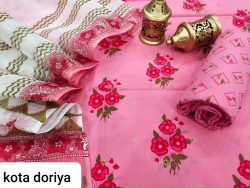 Pink floral print cotton salwar suit with kota doria dupatta set