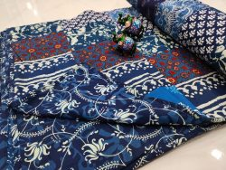 Persian blue pure cotton Hand stitched AC Quilt Dohar Patch work