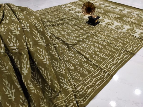 Dark Olive Green pure cotton saree with blouse