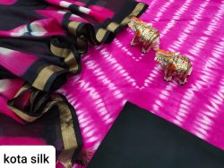 pink and black pure Cotton suit kota Silk dupatta