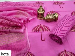 Pink cotton salwar suit with kota doria dupatta