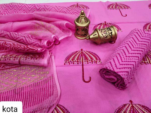 Pink cotton salwar suit with kota doria dupatta