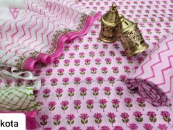 Pink floral print cotton suit with kota doria dupatta set