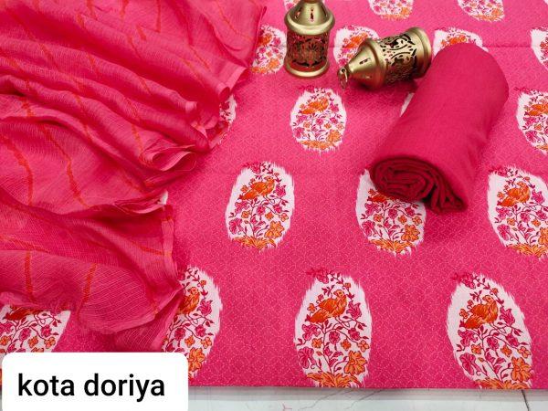 Bright pink cotton salwar suit with kota doria set