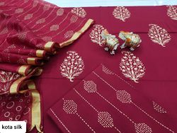 Maroon cotton salwar kameez suit with kota silk dupatta