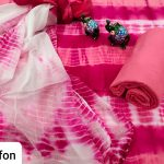 Exclusive Ruby and white cotton suit with chiffon dupatta