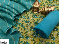 Teal and Pear cotton suit with kota doria dupatta set