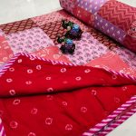 Red crimson and pink Hand stitched AC Quilt Dohar Patch work