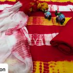 Beautiful Red and yellow cotton suit with chiffon dupatta
