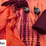 Traditional Coral and Burgundy cotton suit with chiffon dupatta