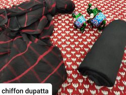 Black and carmine pure cotton salwar kameez with chiffon dupatta