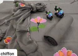 gray Hand painted pure cotton suit with chiffon dupatta