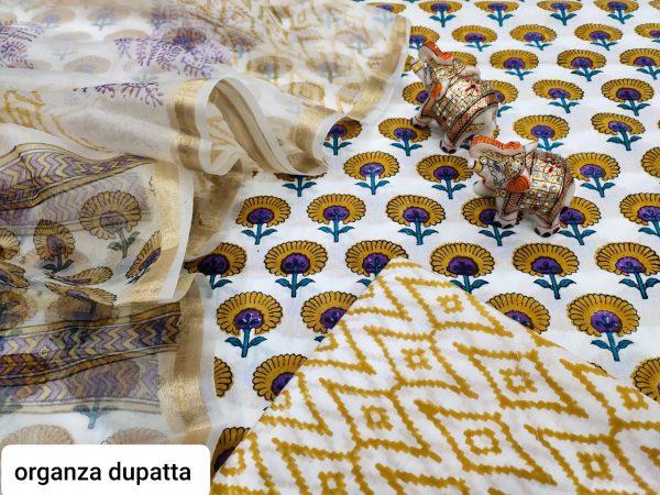 White floral print Cotton suit with organza dupatta set