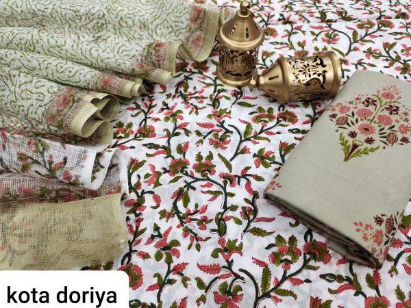 Natural White cotton salwar kameez suit with kota doria dupatta