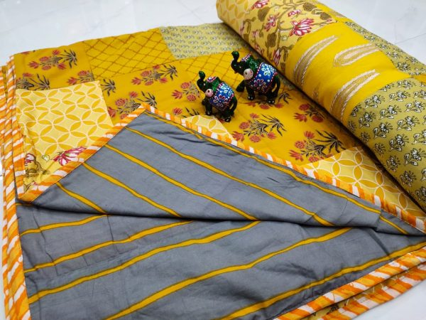 Yellow And Slate gray Hand stitched AC Quilt (Dohar) Patch work