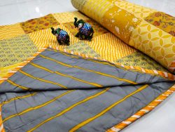 Yellow and Slate gray pure cotton Hand stitched AC Quilt (Dohar) Patch work