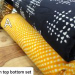 Amber and black pure cotton running dress marerial set