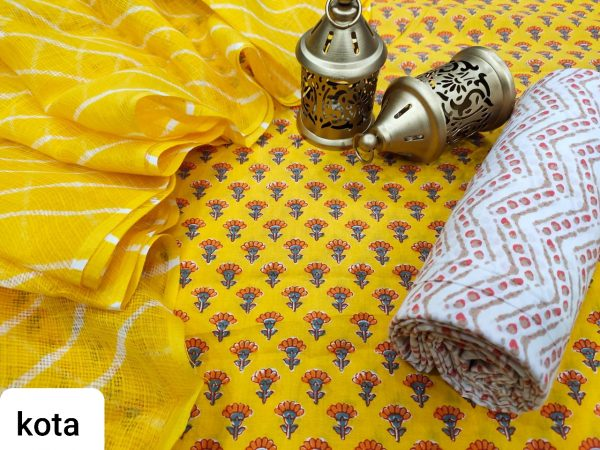 Exclusive Yellow cotton salwar suit with kota doria dupatta set
