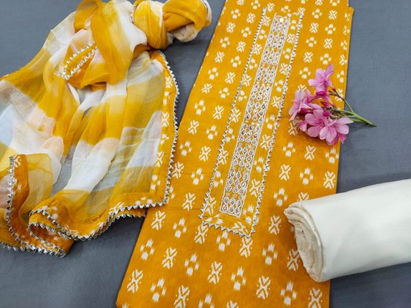 Amber gota Hand work cotton embroidery suits price