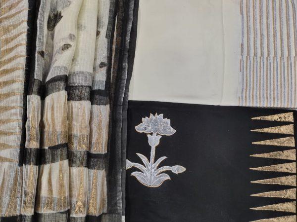 Black floral print cotton suit with kota Doria dupatta