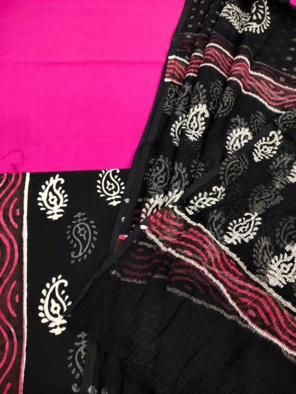 Black and magenta cotton suit with kota Doria dupatta