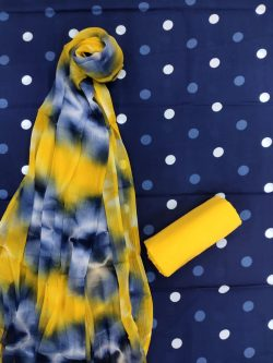 Navy blue And yellow Pure cotton salwar Kammez ethnic wear ladies suit