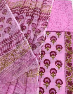 Orchid cotton suit with kota doria dupatta set