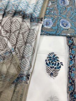 White pure cotton salwar kameez suit suit set woth kota dupatta