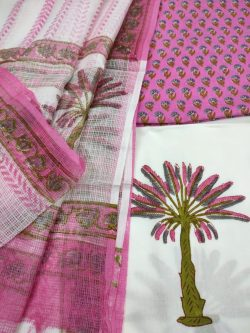 Pink and white cotton suit with kota doria dupatta set