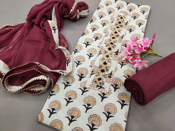 Burgundy and white gota hand work cotton embroidered salwar suit