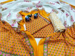 Amber and white floral Pigment print mulmul dupatta suit set with dupatta