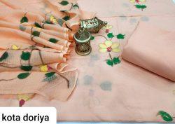 Apricot cotton suit with kota doria dupatta set