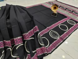 Black pure cotton saree with blouse