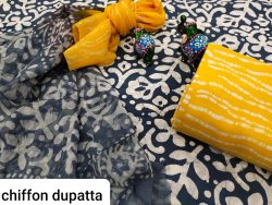 Blue and Yellow pure cotton suit with chiffon dupatta