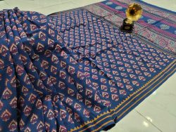Navy blue pure cotton mulmul saree with blouse