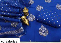 Exclusive Persian blue pure cotton suit with kota doria dupatta set