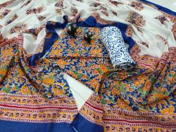 Beautiful Blue floral print pure cotton dupatta suit set
